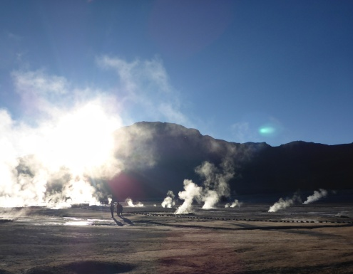 Sunrise at El Tatio Geysers.